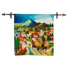 Andean Village Scene Hand Woven Wool by Luis Leon Tapestry