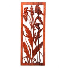 Balinese Sorghum Hand Carved Suar Wood Relief Panel Wall Décor