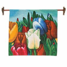 Andean Hand Woven Wool Andean Tulips by Cardenas Brothers Tapestry