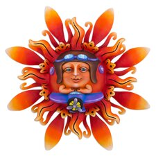 Flight to the Sun Mexican Artisan Crafted Airplane Theme Sun Sculpture Wall Décor