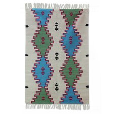 Hand-Woven Blue/Green Area Rug