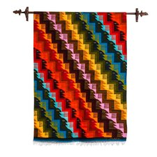 Eyes on the Stairs Hand Woven Geometric Wool by David Laura Zanabria Tapestry