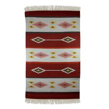 Hand-Loomed Red/White Area Rug