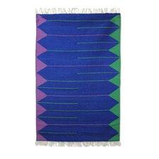 Hand-Loomed Blue Area Rug