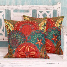 Seema Embroidered Applique Throw Pillow Cover (Set of 2)