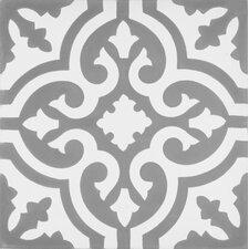 """Mediterranea Floor II 8"""" x 8"""" Cement Hand-Painted Tile in Gray/White"""