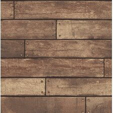 "Essentials Weathered Nailhead Plank 33' x 20.5"" Wood Wallpaper Roll"
