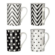 4 Piece Chevron / Spots Mug Set