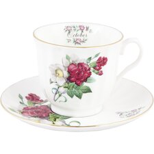Flowers of the Month October 30cm Bone China Cup and Saucer