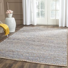 Palm Coast Hand-Woven Natural/Blue Area Rug