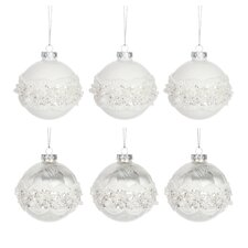 6-tlg. 6-tlg. Weihnachtskugel-Set Lace and Sequins aus Glas