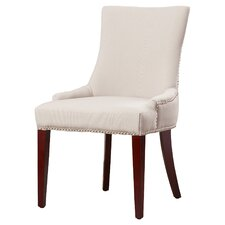 Alpha Centauri Upholstered Side Chair in Linen - Grey with Nickel Nailheads