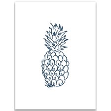 Navy Blue Pineapple Wall Art Print