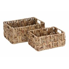 2 Piece Metal Wicker Basket Set