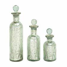 3 Piece Glass Stopper Bottle Set