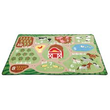 Count the Farm Activity Green/Brown Area Rug