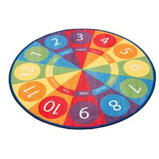 Tick-Tock Clock Activity Blue/Green Area Rug
