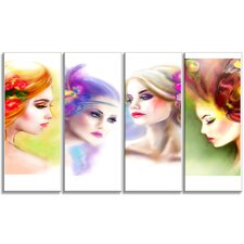 'Colorful Women Face Collage' 4 Piece Graphic Art on Wrapped Canvas Set