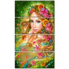 'Fairy Woman with Colorful Flowers' 4 Piece Graphic Art on Wrapped Canvas Set