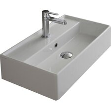 "Teorema 24"" Wall Mounted Bathroom Sink with Overflow"