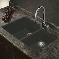 "Radius 31"" x 20"" Granite Double Offset Undermount Kitchen Sink"