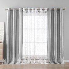 Leoc Solid Semi-Sheer Single Curtain Panel (Set of 4)