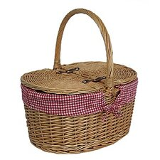 Lidded Picnic Basket with Check Lining