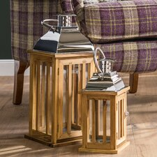 Tozi Chrome and Wood Lantern