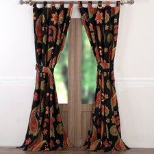 Midnight Paisley Sheer Tab Top Single Curtain Panel (Set of 2)