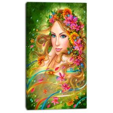 'Fairy Woman with Colorful Flowers' Graphic Art on Wrapped Canvas