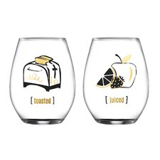 2 Piece Toasted and Juiced Stemless Glasses 18.3 Oz Drinkware Set