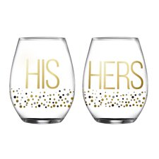 2 Piece His/Hers Luster Stemless Glasses 18.3 Oz Drinkware Set