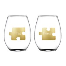 2 Piece His/Hers Stemless Glasses 18.3 Oz Drinkware Set