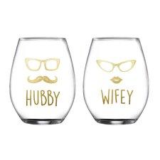 2 Piece Hubby/Wifey Stemless Glasses 18.3 Oz Drinkware Set