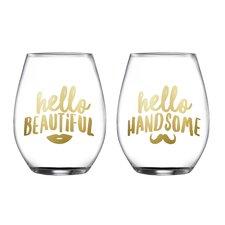 2 Piece Handsome/Beautiful Stemless Glasses 18.3 Oz Drinkware Set