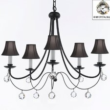 Clemence 5-Light Wrought Iron Shaded Chandelier