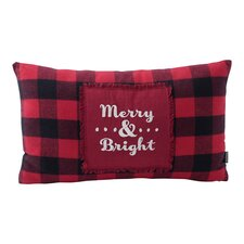 """Merry and Bright"" Buffalo Plaid Cotton Throw Pillow"