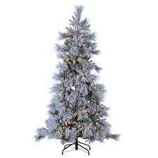 7' Green Pine Artificial Christmas Tree with 450 LED Cool White Lights and Snowy Branches