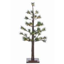 3' Green Pine Artificial Christmas Tree with 24 Incandescent Warm White Lights Includes Stand