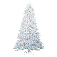 7.5' White Pine Artificial Christmas Tree with 600 LED Warm White/Multicolor Lights