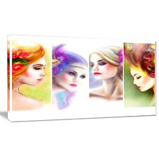 'Colorful Women Face Collage' Graphic Art on Wrapped Canvas