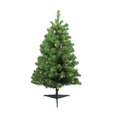 "36"" Green Fir Artificial Christmas Tree with 35 Clear Lights with Stand"