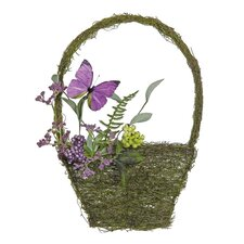 Mixed Berry and Butterfly Artificial Basket Wall Décor