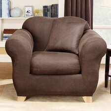 Stretch Leather Two Piece Armchair Slipcover  by Sure Fit