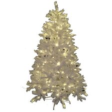 15' Classic White Spruce Artificial Christmas Tree with LED Warm White Lights and Metal Stand