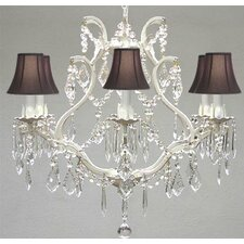 Clemence 6-Light Wrought Iron Frame Crystal Chandelier