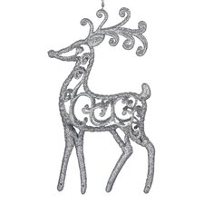 Silver Mirror Lace Deer Ornament