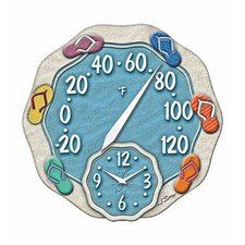 Sandals Wall Thermometer with Clock