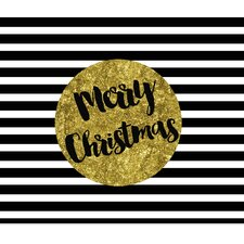 'Black, White and Gold Merry Christmas' Graphic Art