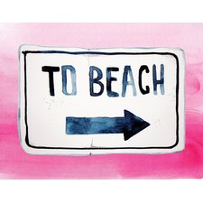 'To the Beach in Pink' Textual Art in Pink